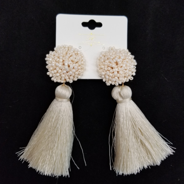 Beaded statement earrings with tassels