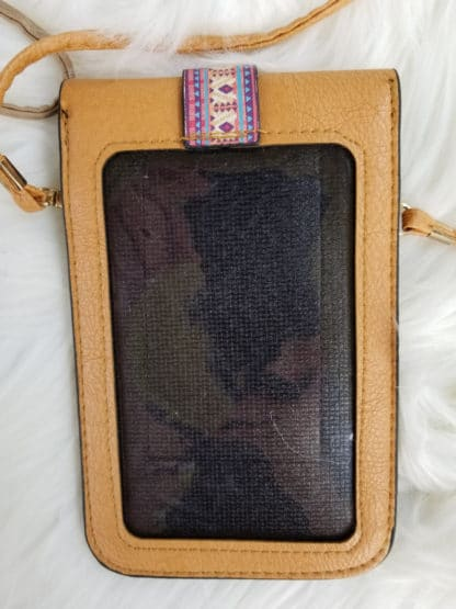 Cellphone cross-body purse tan back
