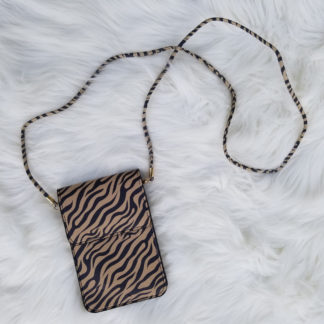 Cellphone cross-body purse with zebra print
