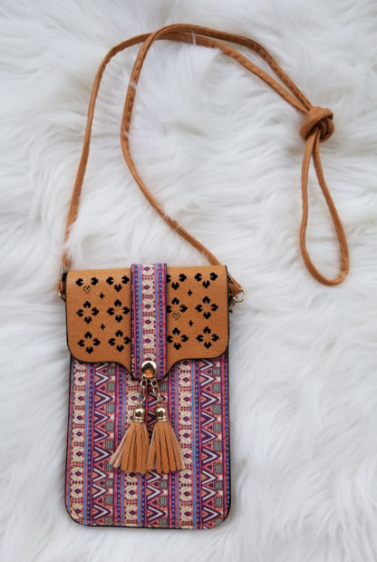 Cellphone cross-body purses tan