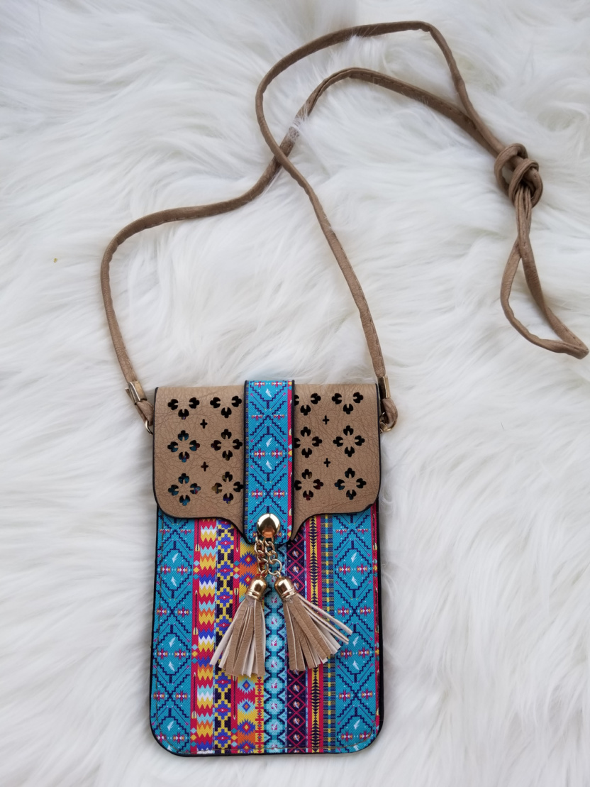 Cellphone cross-body purses taupe