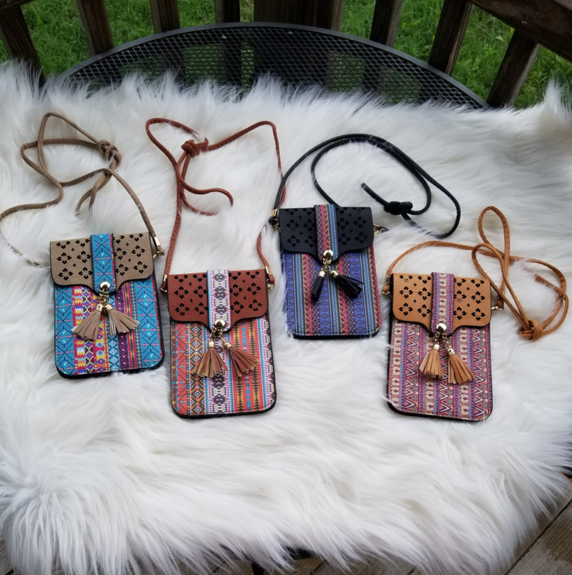 Cellphone cross-body purses taupe clay black tan
