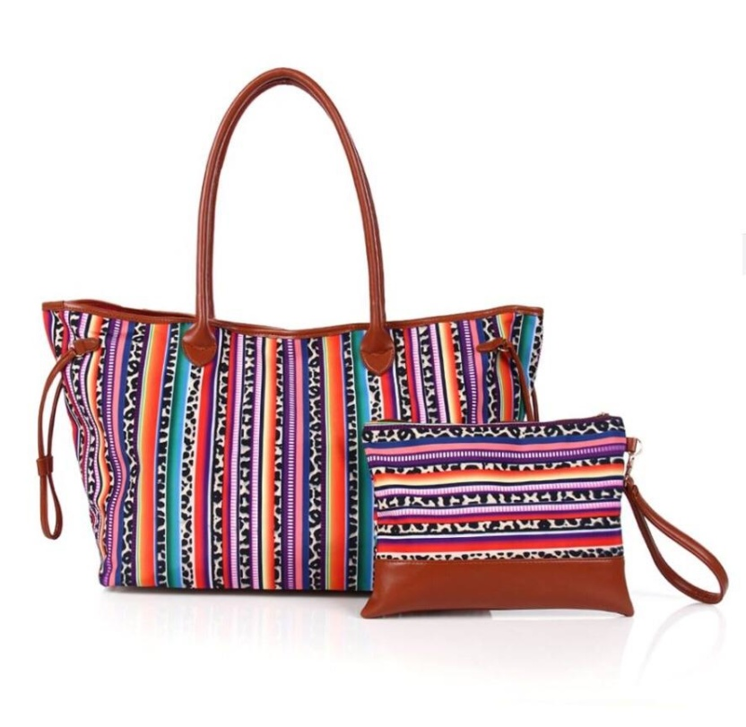 Serape Performance Poly Canvas tote and clutch bags