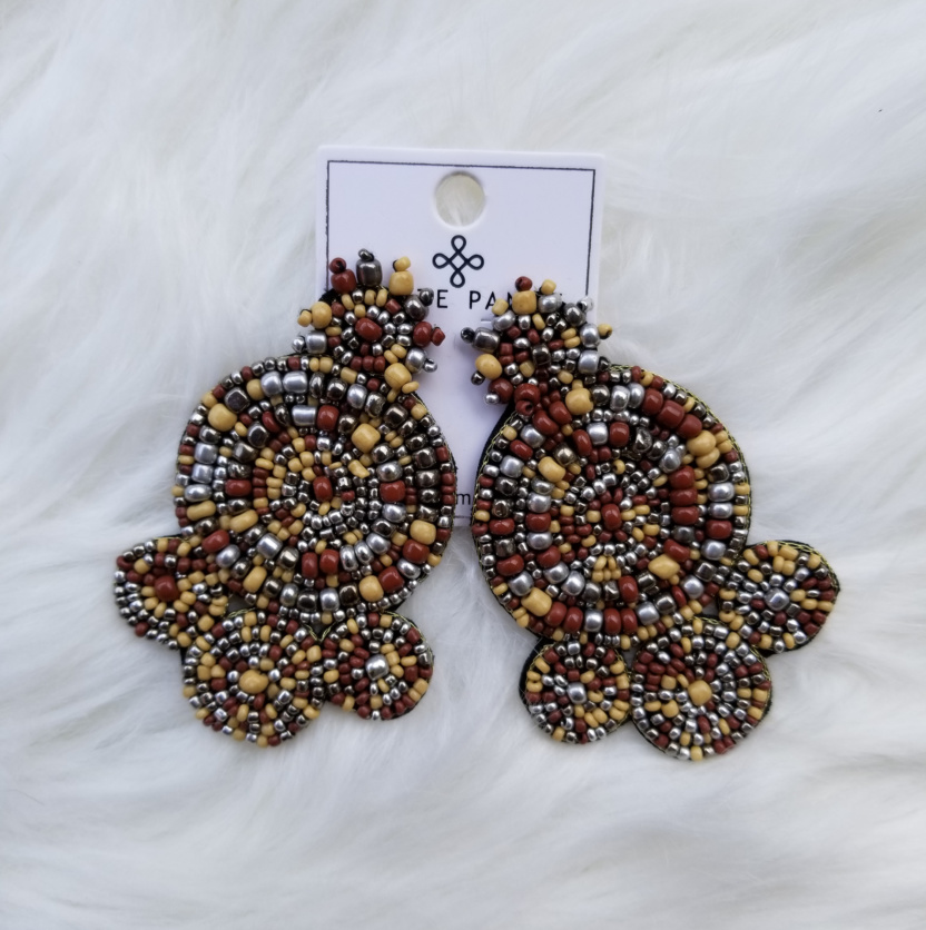 Spiral beaded statement earrings