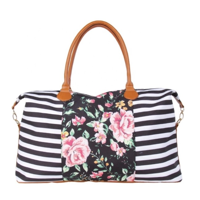 Striped and floral weekender