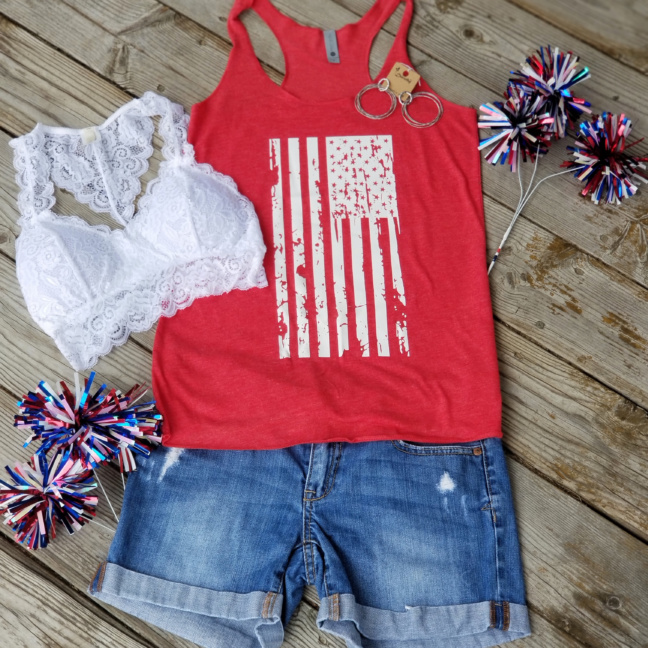 White flag red tank with earring bralet