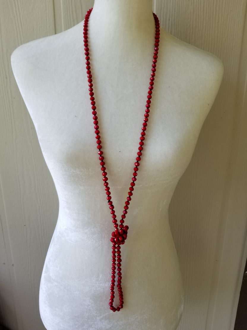 60-inch 6mm necklace red