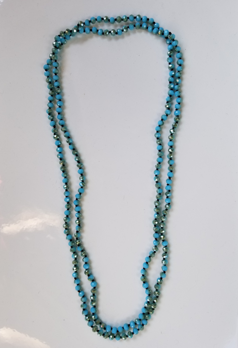 60-inch 6mm necklace seafoam turquoise