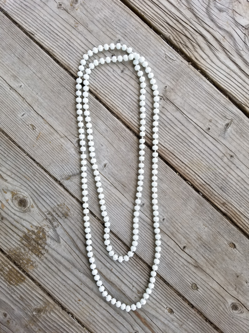 60-inch 8mm shiny sphere beaded necklace white