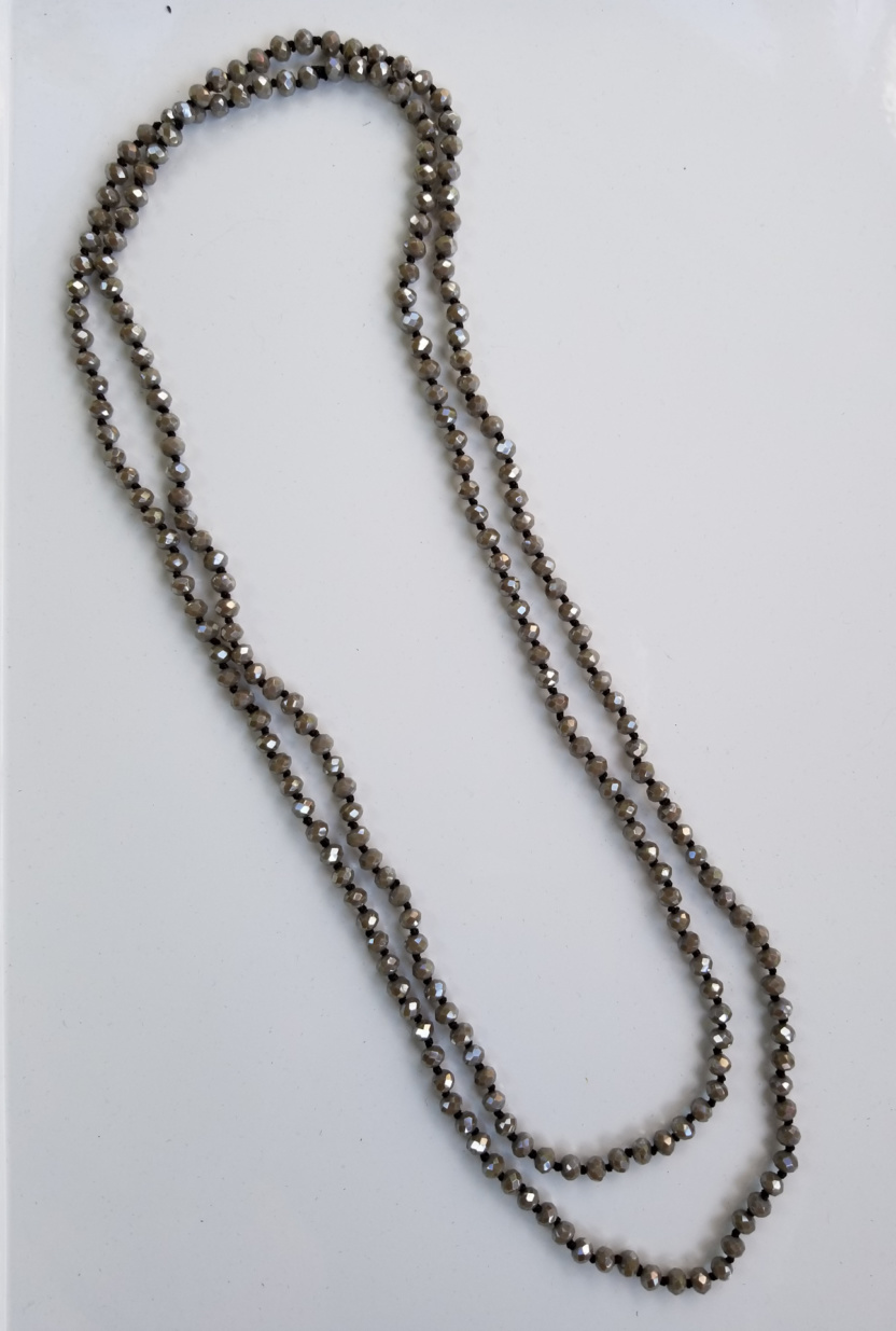 Faceted 6mm beaded 60-inch necklace taupe