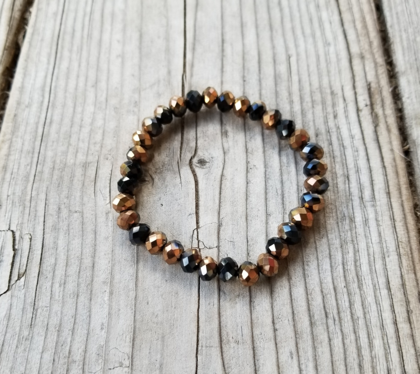Faceted 7mm crystal beaded bracelet leopard rose gold