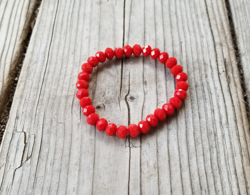 Faceted 7mm crystal beaded bracelet red