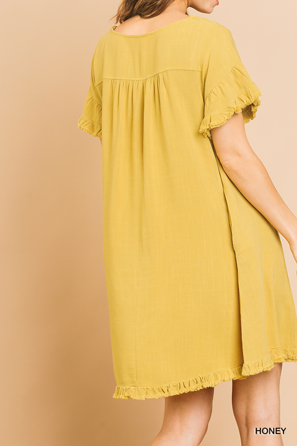 Linen Blend Short Ruffle Sleeve Round Neck Dress back
