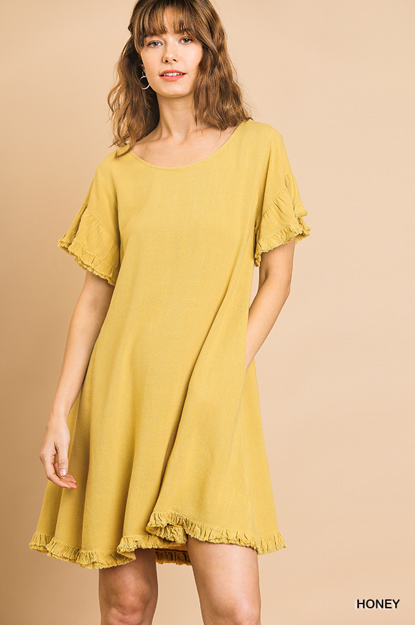 Linen Blend Short Ruffle Sleeve Round Neck Dress front
