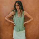Pickle green top with mint green skirt