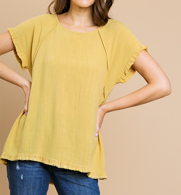 Umgee short sleeve round-neck high-low top golden yellow