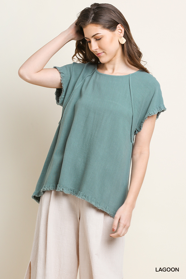 Umgee short sleeve round-neck high-low top