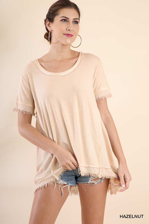 Washed Short Sleeve Top Frayed Gathered Details front