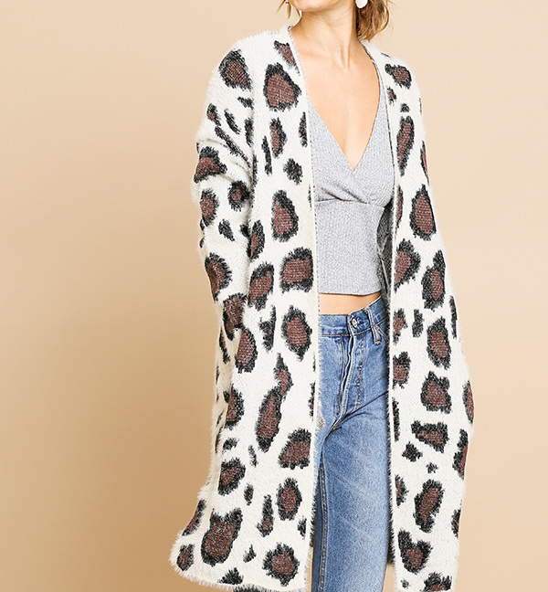 Animal print long sleeve fuzzy long sweater cardigan