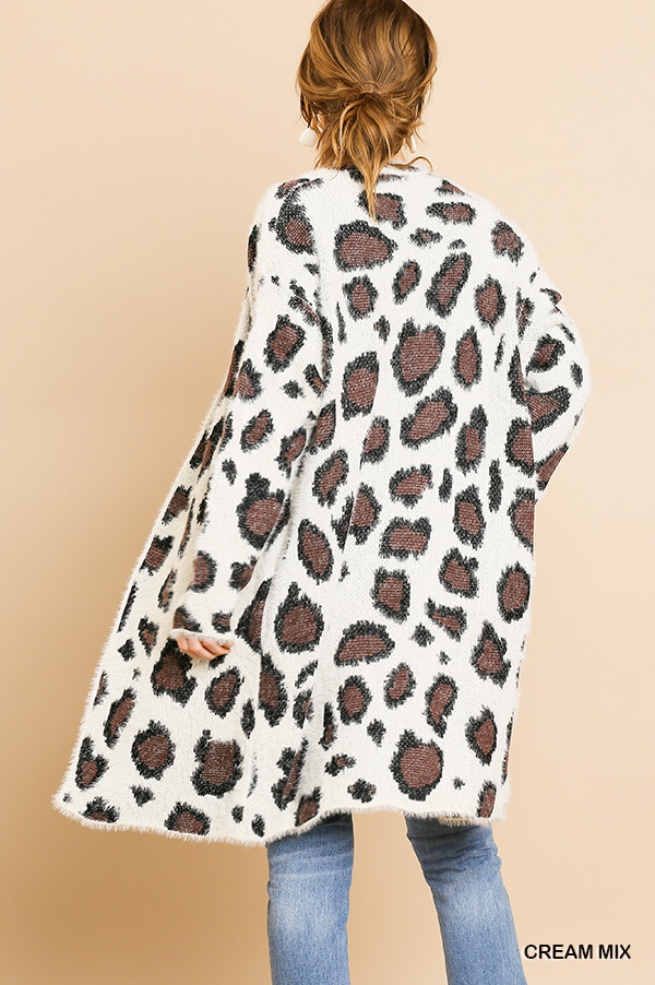 Animal print long sleeve fuzzy long sweater cardigan back