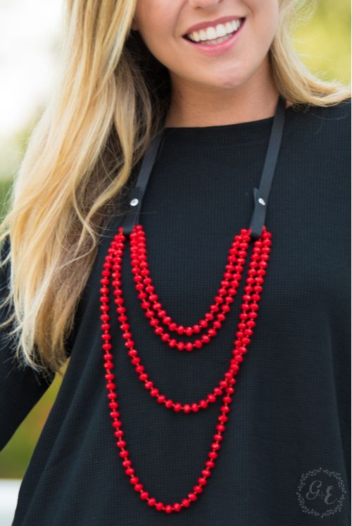 Essential Bead Necklace Extender Black Leather red beads