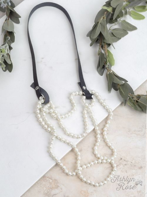 Essential Bead Necklace Extender Black Leather white beads