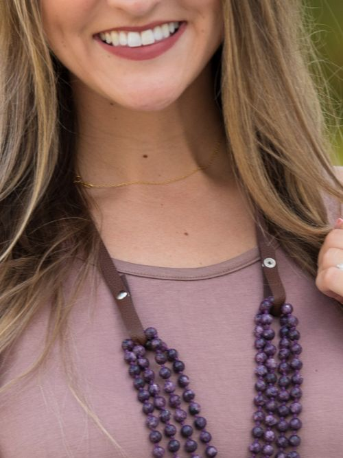 Essential Bead Necklace Extender Brown Leather blue bead