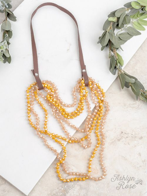 Essential Bead Necklace Extender Brown Leather yellow bead