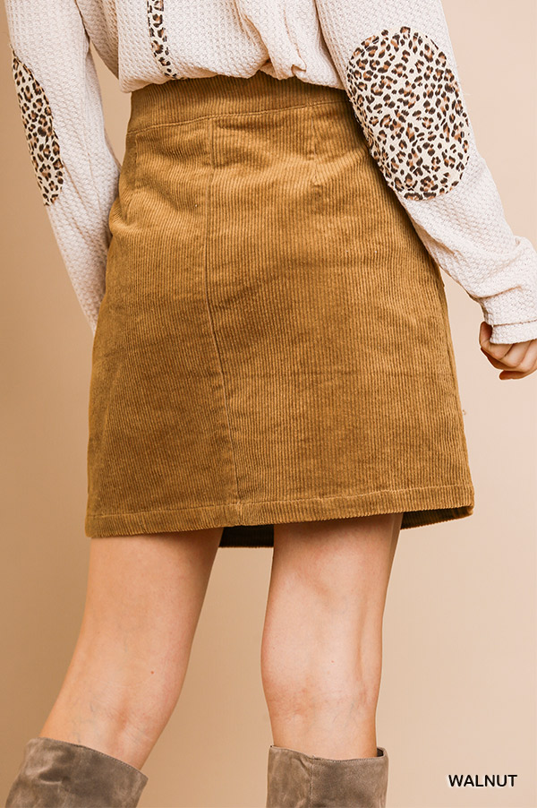 High waist corduroy A-line button front skirt with pockets back