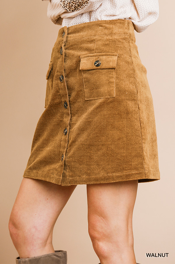 High waist corduroy A-line button front skirt with pockets side