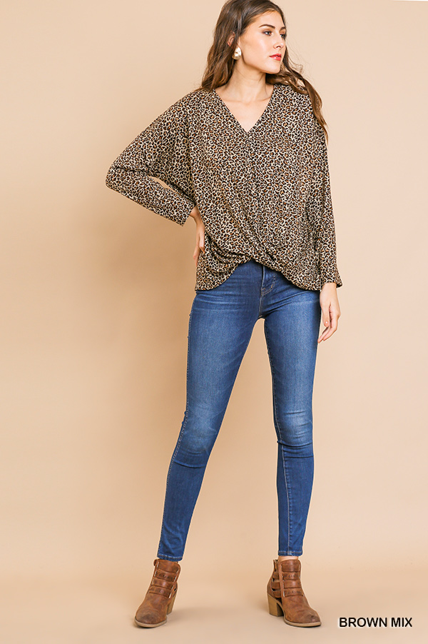 Long sleeve animal-print V-Neck top front gathering front