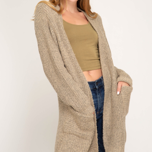 Long sleeve front open cardigan with pocket