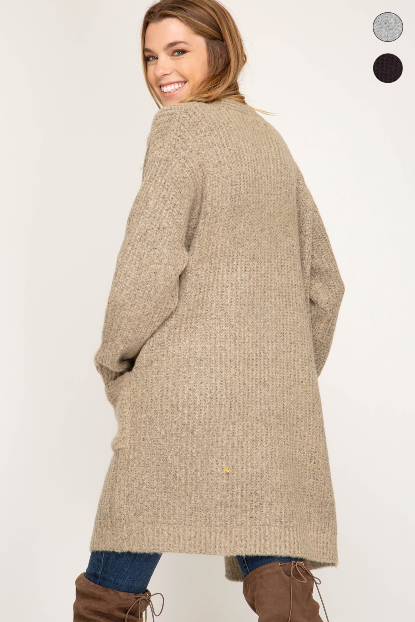 Long sleeve front open cardigan with pocket back