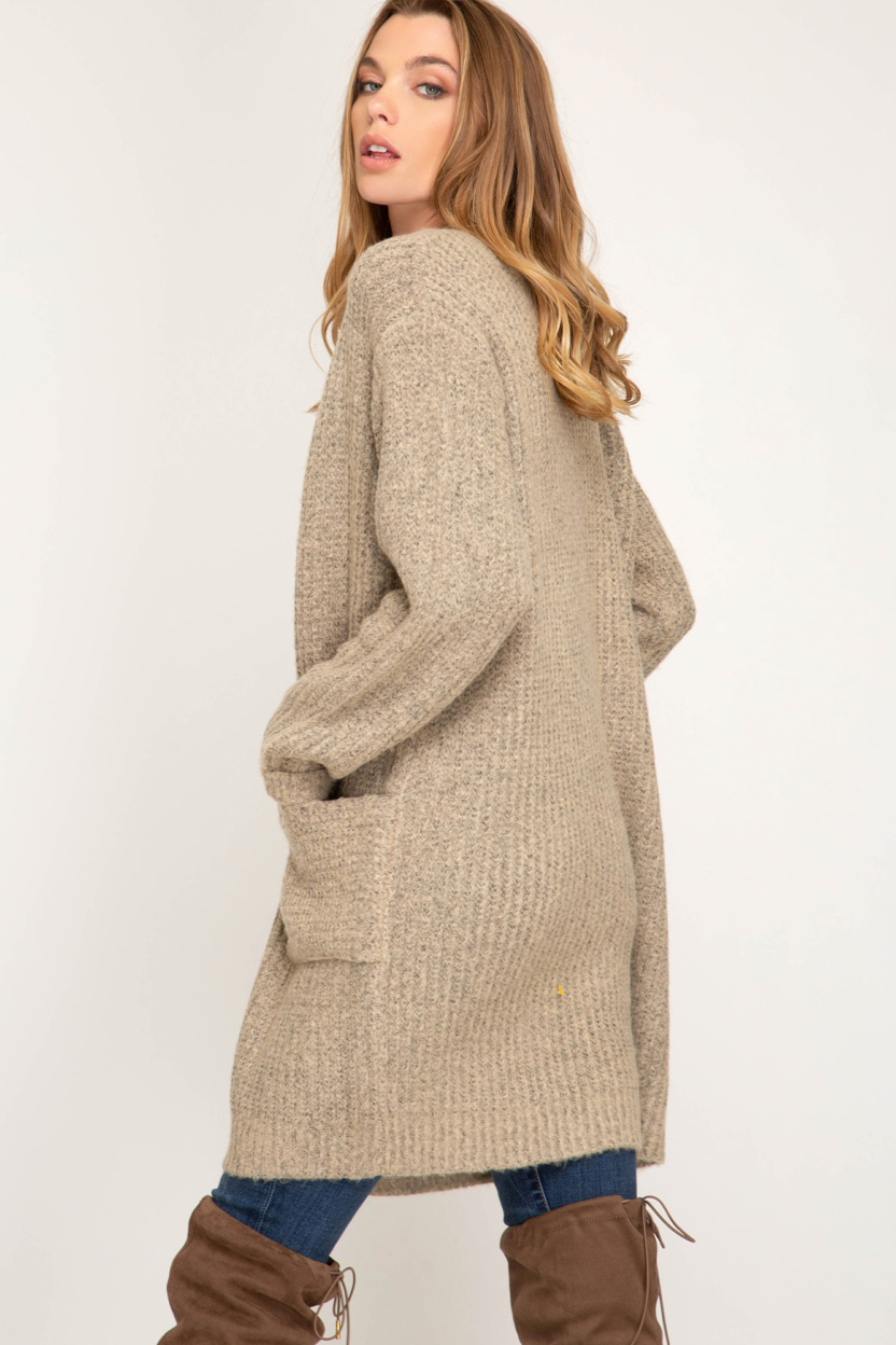 Long sleeve front open cardigan with pocket side