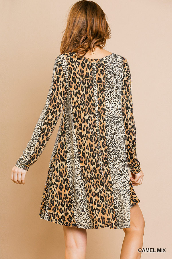 Long sleeve mixed animal print round neck dress back