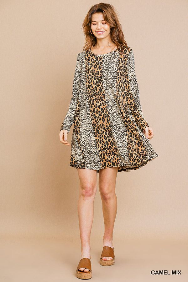 Long sleeve mixed animal print round neck dress front