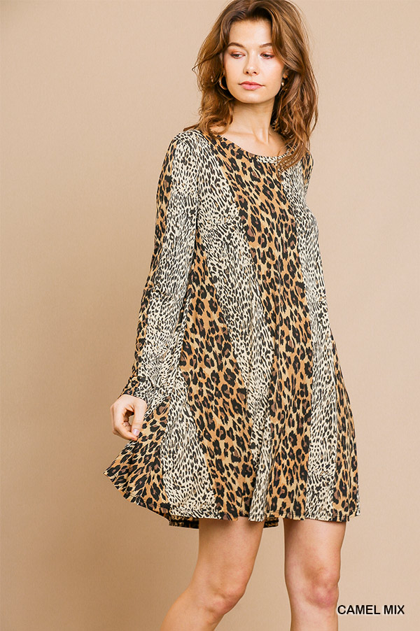 Long sleeve mixed animal print round neck dress side