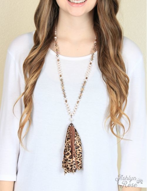 Lorraine's Leopard and Brown Leather Tassel Necklace