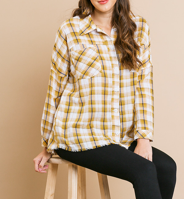 Plaid print long sleeve button front collared top