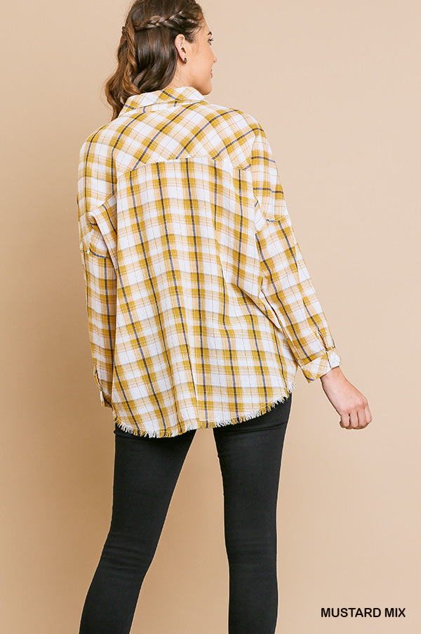 Plaid print long sleeve button front collared top back