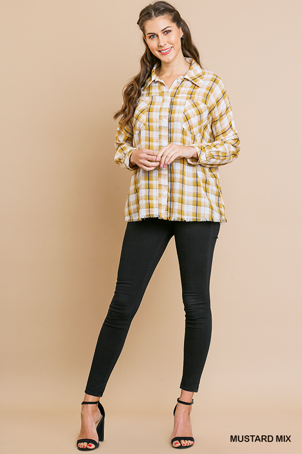 Plaid print long sleeve button front collared top full