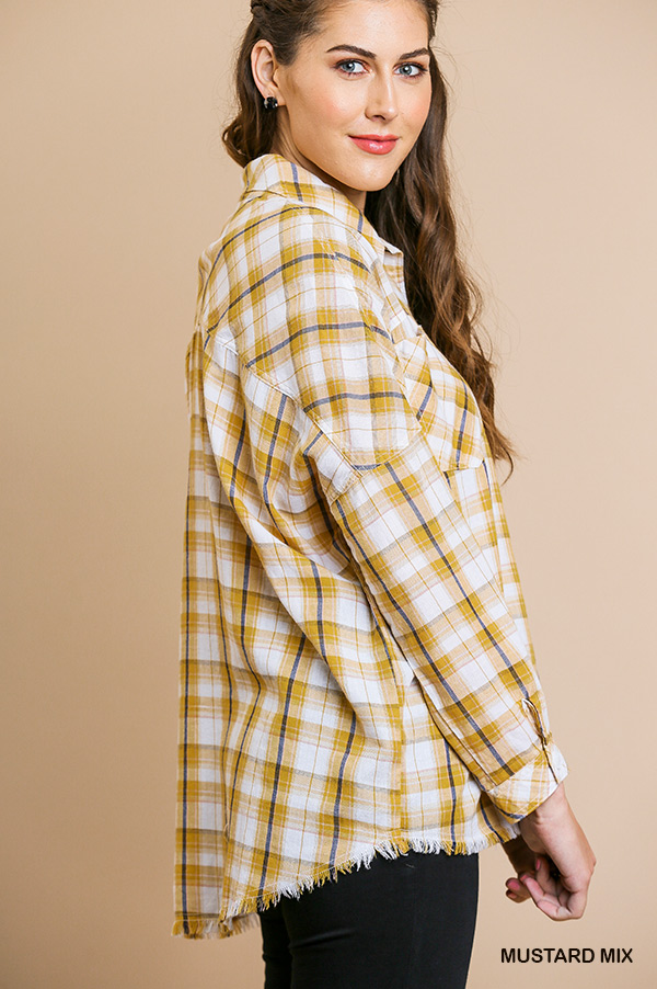 Plaid print long sleeve button front collared top side