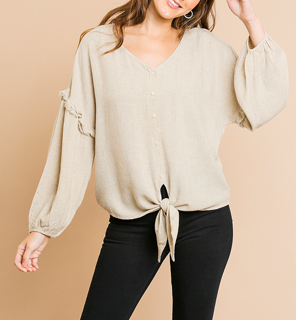 Puff sleeve button front V-neck top with center knot front