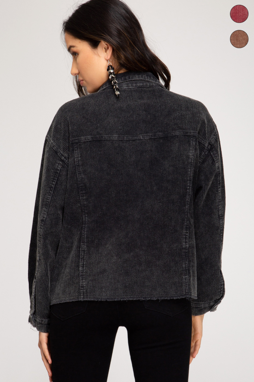 Washed detail corduroy jacket with pockets back