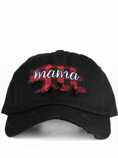 Buffalo plaid Mama Bear black distressed cap front