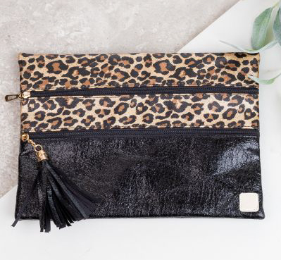 Leopard double zipper Versi bag