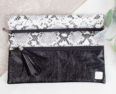 Snakeskin double zipper Versi bag