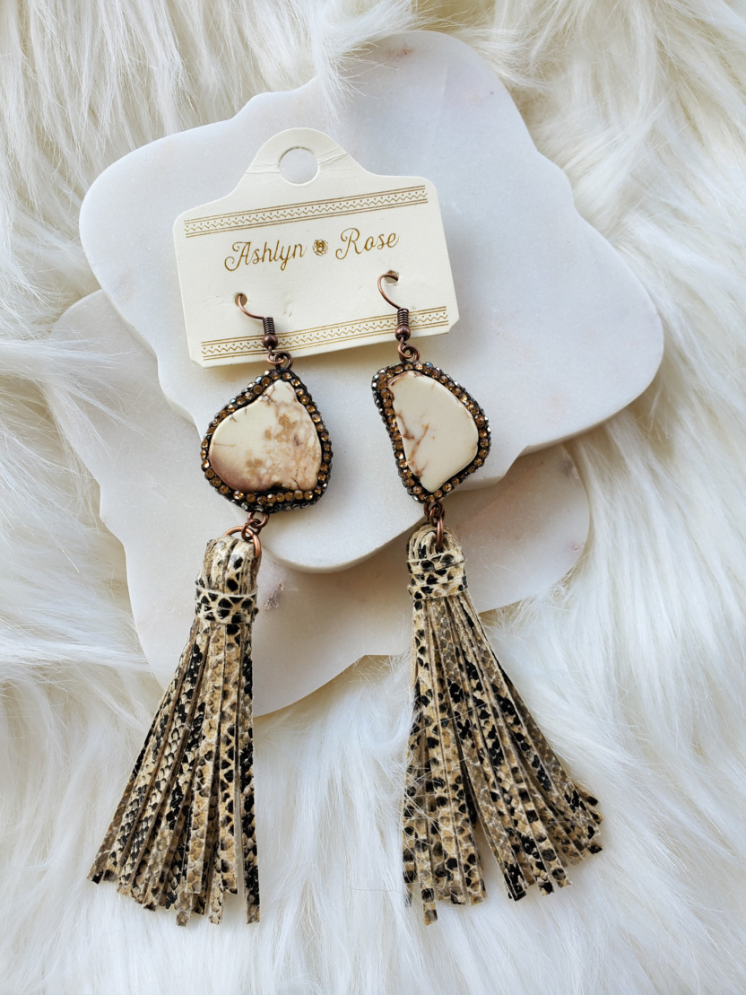 Snakeskin tassel earrings with chunky stone