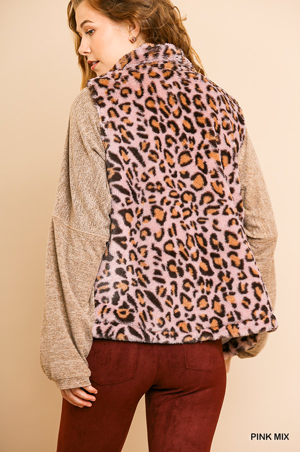 Animal Print Sleeveless Fuzzy Zip Front Vest with Pockets back