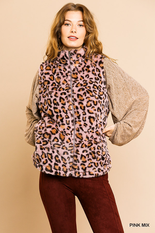Animal Print Sleeveless Fuzzy Zip Front Vest with Pockets front close